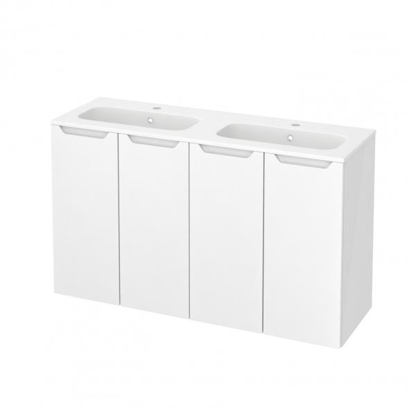 Meuble de salle de bains - Plan double vasque REZO - PIMA Blanc - 4 portes - Côtés blancs - L120,5 x H71,5 x P40,5 cm