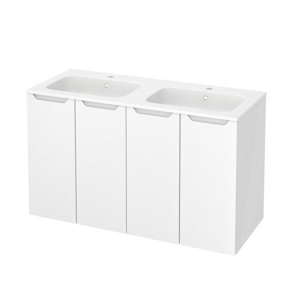 Meuble de salle de bains - Plan double vasque REZO - PIMA Blanc - 4 portes - Côtés blancs - L120,5 x H71,5 x P50,5 cm