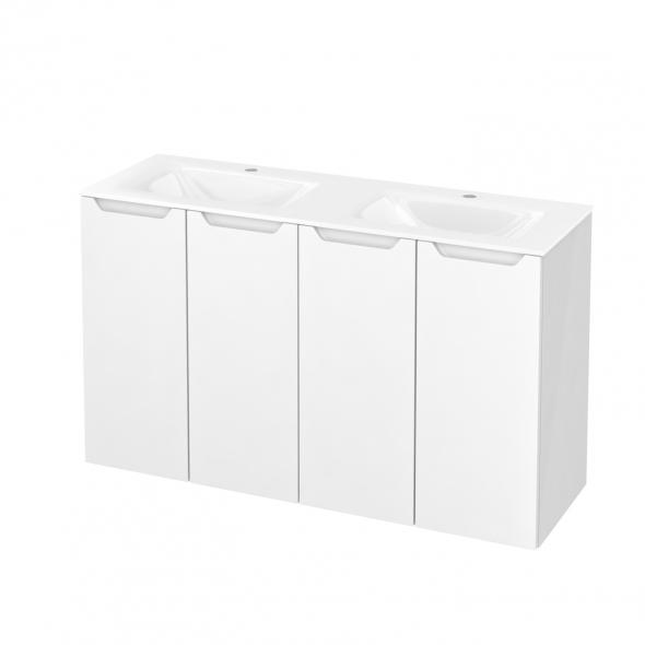 Meuble de salle de bains - Plan double vasque VALA - PIMA Blanc - 4 portes - Côtés blancs - L120,5 x H71,2 x P40,5 cm
