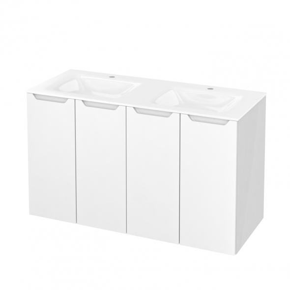PIMA Blanc - Meuble salle de bains N°731 - Double vasque VALA - 4 portes  - L120,5xH71,2xP50,5