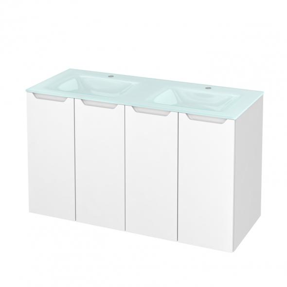 Meuble de salle de bains - Plan double vasque EGEE - PIMA Blanc - 4 portes - Côtés décors - L120,5 x H71,2 x P50,5 cm