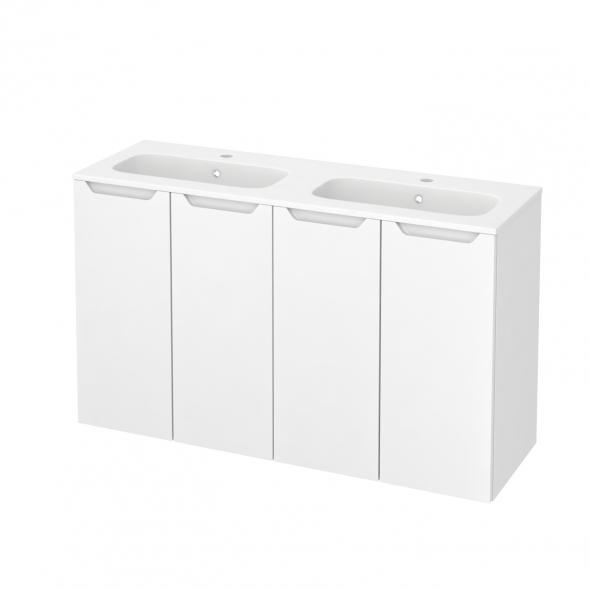 Meuble de salle de bains - Plan double vasque REZO - PIMA Blanc - 4 portes - Côtés décors - L120,5 x H71,5 x P40,5 cm