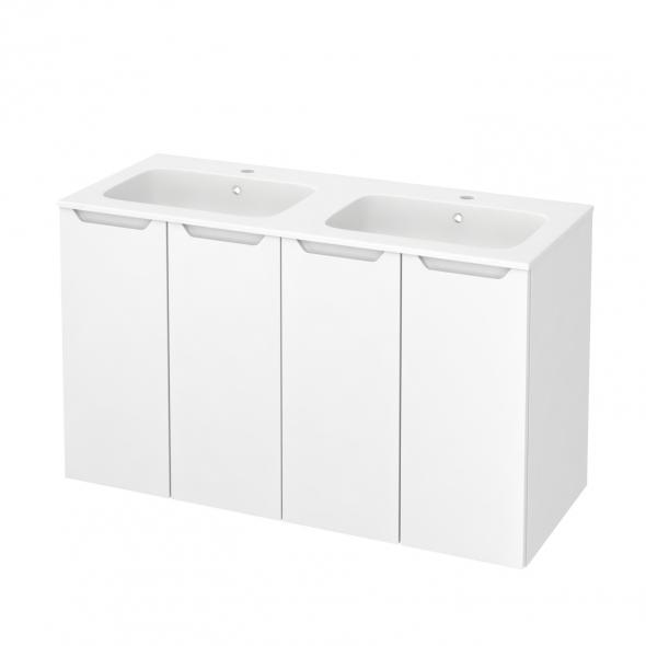 Meuble de salle de bains - Plan double vasque REZO - PIMA Blanc - 4 portes - Côtés décors - L120,5 x H71,5 x P50,5 cm