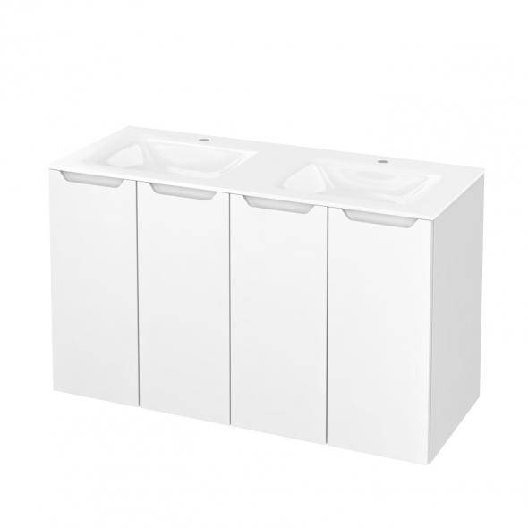 Meuble de salle de bains - Plan double vasque VALA - PIMA Blanc - 4 portes - Côtés décors - L120,5 x H71,2 x P50,5 cm