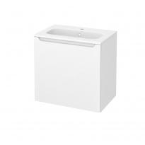 Meuble de salle de bains - Plan vasque REZO - PIMA Blanc - 1 porte - Côtés décors - L60,5 x H58,5 x P40,5 cm
