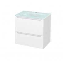 Meuble de salle de bains - Plan vasque EGEE - PIMA Blanc - 2 tiroirs - Côtés décors - L60,5 x H58,2 x P40,5 cm