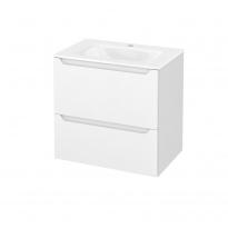 Meuble de salle de bains - Plan vasque VALA - PIMA Blanc - 2 tiroirs - Côtés décors - L60,5 x H58,2 x P40,5 cm
