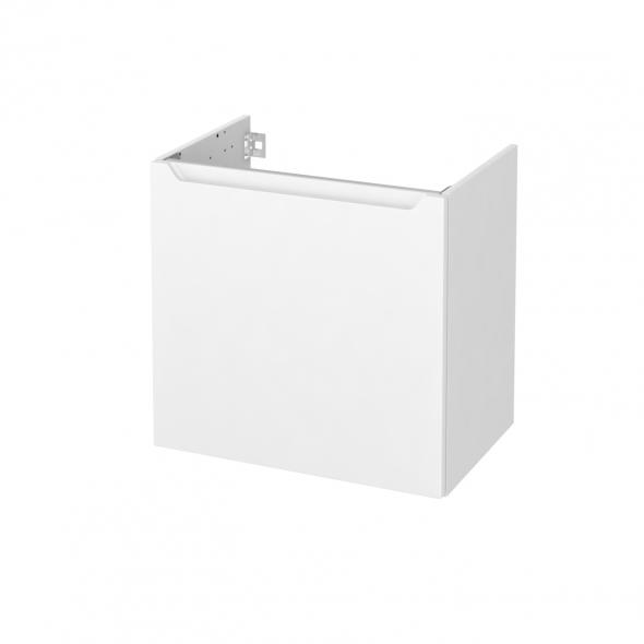 Meuble de salle de bains - Sous vasque - PIMA Blanc - 1 porte - Côtés blancs - L60 x H57 x P40 cm