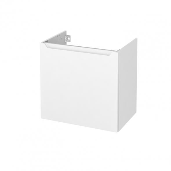 Meuble de salle de bains - Sous vasque - PIMA Blanc - 1 porte - Côtés décors - L60 x H57 x P40 cm