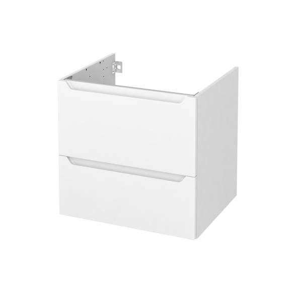 Meuble de salle de bains - Sous vasque - PIMA Blanc - 2 tiroirs - Côtés blancs - L60 x H57 x P50 cm