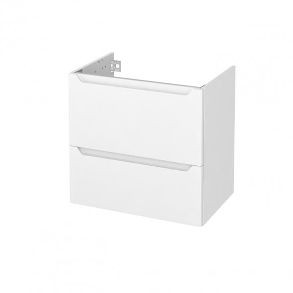 Meuble de salle de bains - Sous vasque - PIMA Blanc - 2 tiroirs - Côtés décors - L60 x H57 x P40 cm