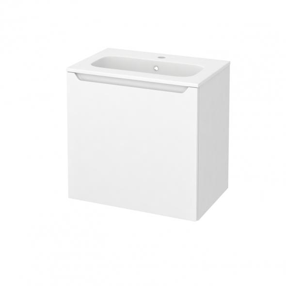 PIMA Blanc - Meuble salle de bains N°161 - Vasque REZO - 1 porte Prof.40 - L60,5xH58,5xP40,5
