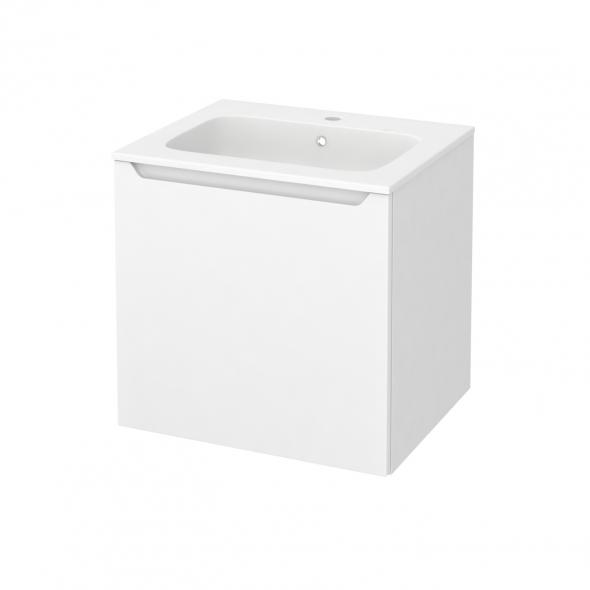 Meuble de salle de bains - Plan vasque REZO - PIMA Blanc - 1 porte - Côtés blancs - L60,5 x H58,5 x P50,5 cm