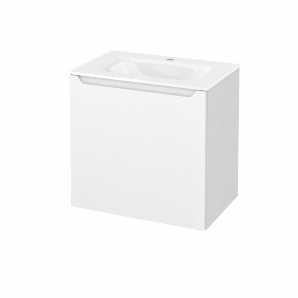 Meuble de salle de bains - Plan vasque VALA - PIMA Blanc - 1 porte - Côtés blancs - L60,5 x H58,2 x P40,5 cm