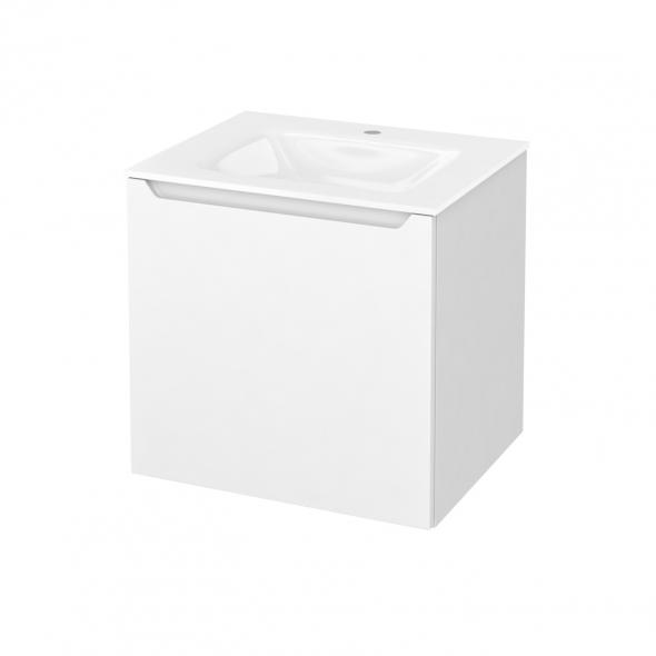 Meuble de salle de bains - Plan vasque VALA - PIMA Blanc - 1 porte - Côtés blancs - L60,5 x H58,2 x P50,5 cm