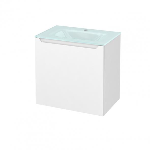 Meuble de salle de bains - Plan vasque EGEE - PIMA Blanc - 1 porte - Côtés décors - L60,5 x H58,2 x P40,5 cm