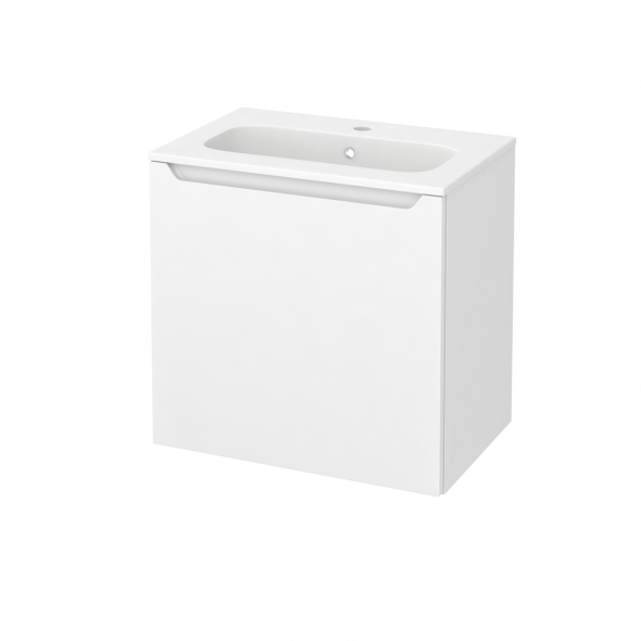 PIMA Blanc - Meuble salle de bains N°162 - Vasque REZO - 1 porte Prof.40 - L60,5xH58,5xP40,5