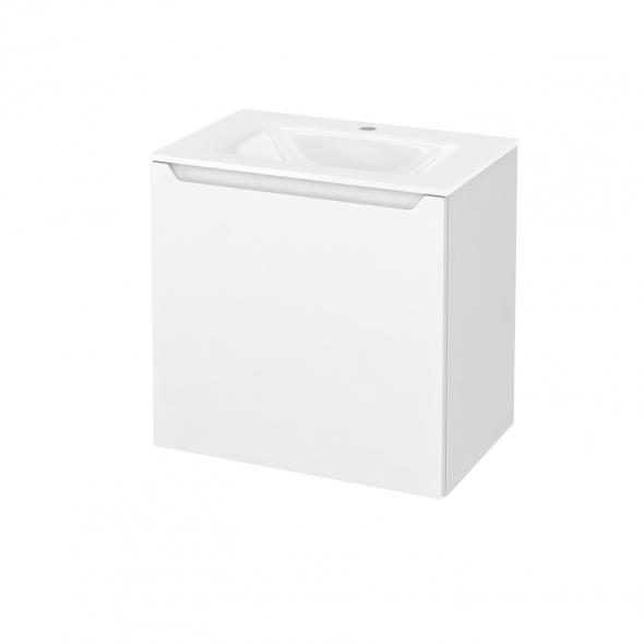Meuble de salle de bains - Plan vasque VALA - PIMA Blanc - 1 porte - Côtés décors - L60,5 x H58,2 x P40,5 cm