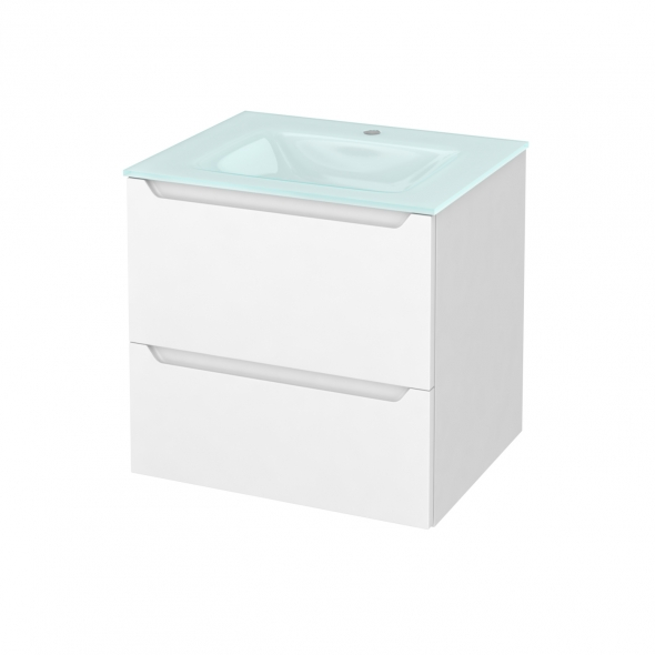 Meuble de salle de bains - Plan vasque EGEE - PIMA Blanc - 2 tiroirs - Côtés blancs - L60,5 x H58,2 x P50,5 cm