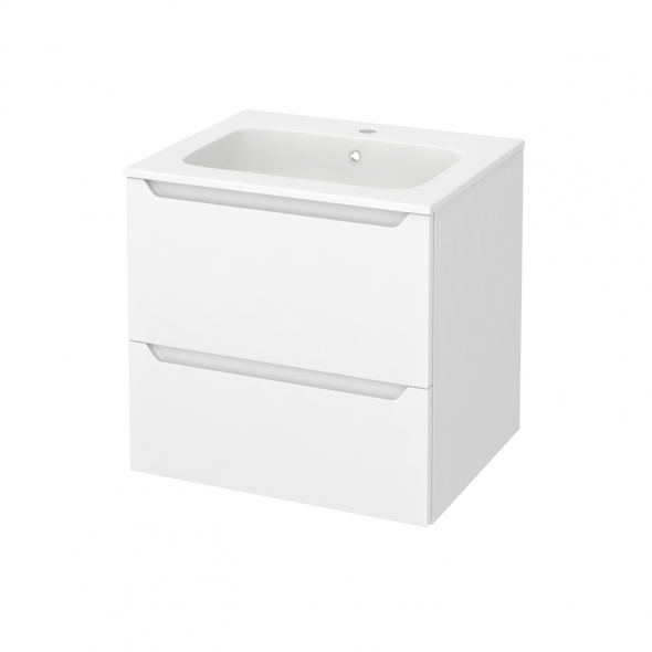 Meuble de salle de bains - Plan vasque REZO - PIMA Blanc - 2 tiroirs - Côtés blancs - L60,5 x H58,5 x P50,5 cm