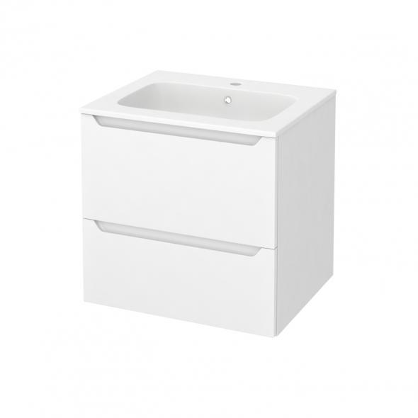 PIMA Blanc - Meuble salle de bains N°621 - Vasque REZO - 2 tiroirs  - L60,5xH58,5xP50,5