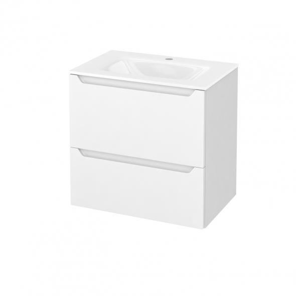 Meuble de salle de bains - Plan vasque VALA - PIMA Blanc - 2 tiroirs - Côtés blancs - L60,5 x H58,2 x P40,5 cm