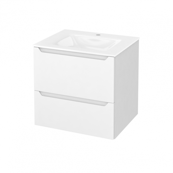 Meuble de salle de bains - Plan vasque VALA - PIMA Blanc - 2 tiroirs - Côtés blancs - L60,5 x H58,2 x P50,5 cm