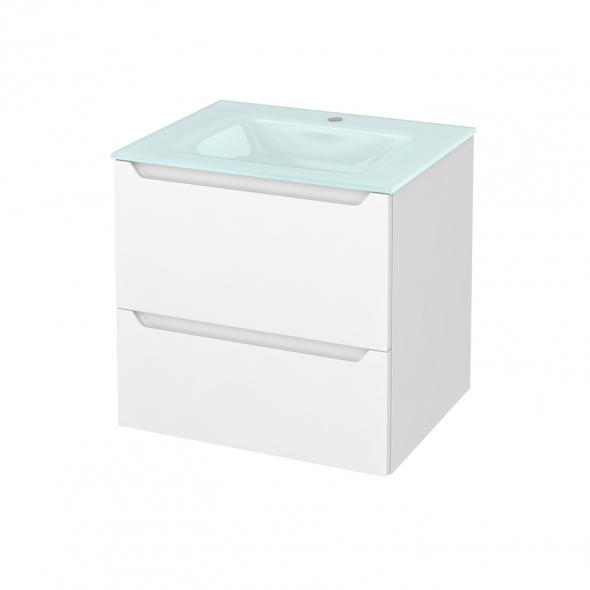 Meuble de salle de bains - Plan vasque EGEE - PIMA Blanc - 2 tiroirs - Côtés décors - L60,5 x H58,2 x P50,5 cm