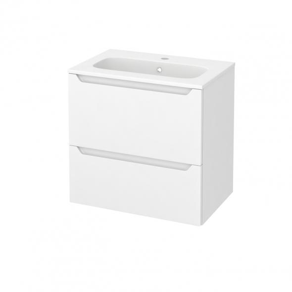 Meuble de salle de bains - Plan vasque REZO - PIMA Blanc - 2 tiroirs - Côtés décors - L60,5 x H58,5 x P40,5 cm