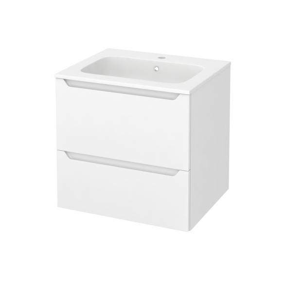 PIMA Blanc - Meuble salle de bains N°622 - Vasque REZO - 2 tiroirs  - L60,5xH58,5xP50,5