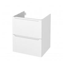 Meuble de salle de bains - Sous vasque - PIMA Blanc - 2 tiroirs - Côtés décors - L60 x H70 x P50 cm