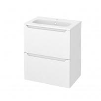 Meuble de salle de bains - Plan vasque REZO - PIMA Blanc - 2 tiroirs - Côtés décors - L60,5 x H71,5 x P40,5 cm