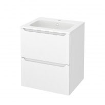 PIMA Blanc - Meuble salle de bains N°572 - Vasque REZO - 2 tiroirs  - L60,5xH71,5xP50,5