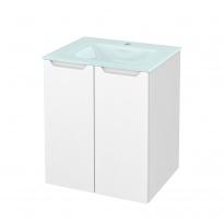 Meuble de salle de bains - Plan vasque EGEE - PIMA Blanc - 2 portes - Côtés décors - L60,5 x H71,2 x P50,5 cm