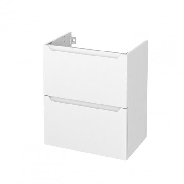 Meuble de salle de bains - Sous vasque - PIMA Blanc - 2 tiroirs - Côtés blancs - L60 x H70 x P40 cm