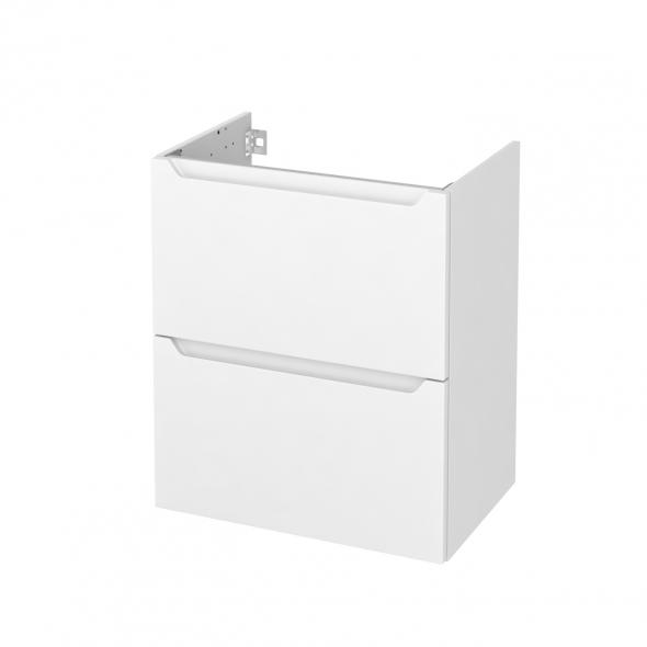 Meuble de salle de bains - Sous vasque - PIMA Blanc - 2 tiroirs - Côtés décors - L60 x H70 x P40 cm
