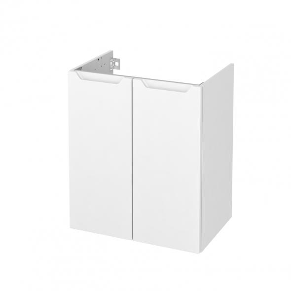 Meuble de salle de bains - Sous vasque - PIMA Blanc - 2 portes - Côtés décors - L60 x H70 x P40 cm