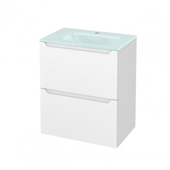 Meuble de salle de bains - Plan vasque EGEE - PIMA Blanc - 2 tiroirs - Côtés blancs - L60,5 x H71,2 x P40,5 cm