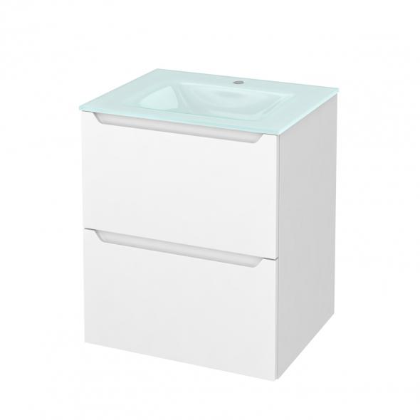 PIMA Blanc - Meuble salle de bains N°571 - Vasque EGEE - 2 tiroirs  - L60,5xH71,2xP50,5