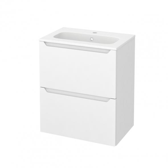 PIMA Blanc - Meuble salle de bains N°571 - Vasque REZO - 2 tiroirs Prof.40 - L60,5xH71,5xP40,5