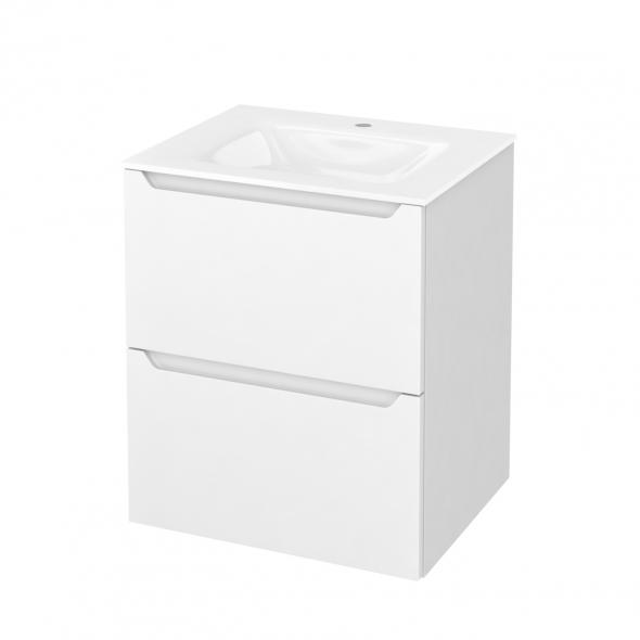 PIMA Blanc - Meuble salle de bains N°571 - Vasque VALA - 2 tiroirs  - L60,5xH71,2xP50,5