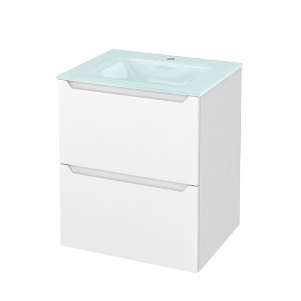 Meuble de salle de bains - Plan vasque EGEE - PIMA Blanc - 2 tiroirs - Côtés décors - L60,5 x H71,2 x P50,5 cm