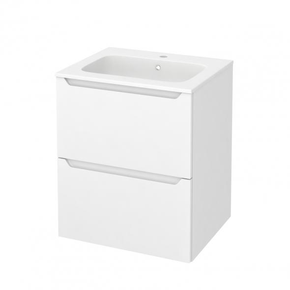 Meuble de salle de bains - Plan vasque REZO - PIMA Blanc - 2 tiroirs - Côtés décors - L60,5 x H71,5 x P50,5 cm
