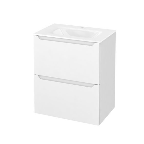 Meuble de salle de bains - Plan vasque VALA - PIMA Blanc - 2 tiroirs - Côtés décors - L60,5 x H71,2 x P40,5 cm