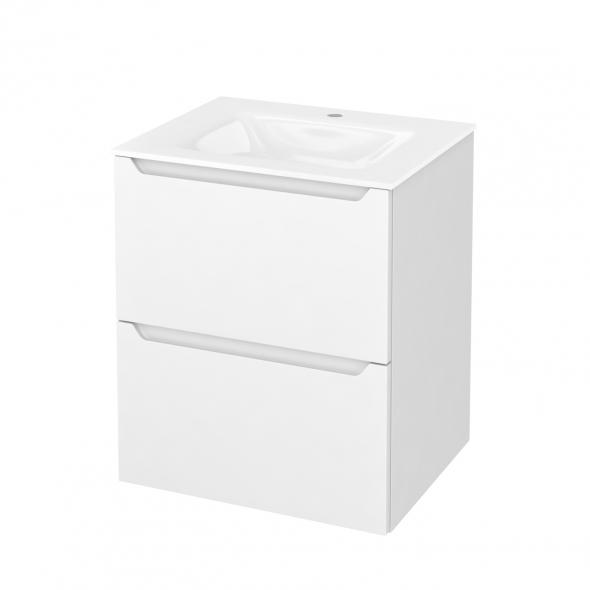 Meuble de salle de bains - Plan vasque VALA - PIMA Blanc - 2 tiroirs - Côtés décors - L60,5 x H71,2 x P50,5 cm