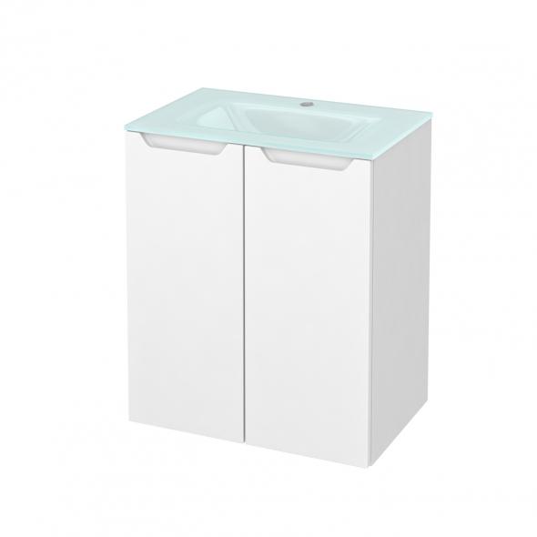 PIMA Blanc - Meuble salle de bains N°691 - Vasque EGEE - 2 portes Prof.40 - L60,5xH71,2xP40,5