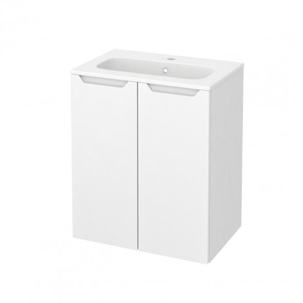 Meuble de salle de bains - Plan vasque REZO - PIMA Blanc - 2 portes - Côtés blancs - L60,5 x H71,5 x P40,5 cm