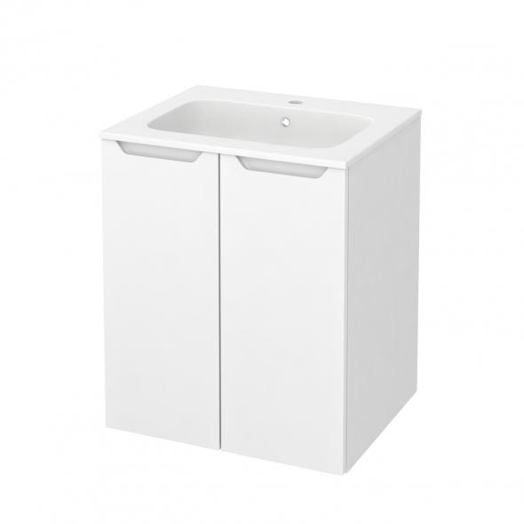 PIMA Blanc - Meuble salle de bains N°691 - Vasque REZO - 2 portes  - L60,5xH71,5xP50,5