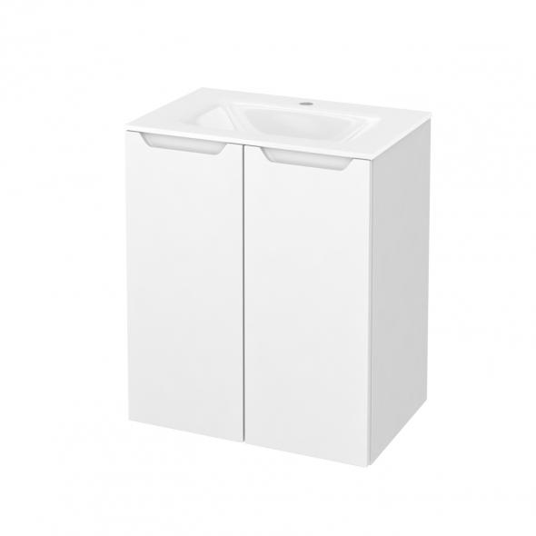 Meuble de salle de bains - Plan vasque VALA - PIMA Blanc - 2 portes - Côtés blancs - L60,5 x H71,2 x P40,5 cm