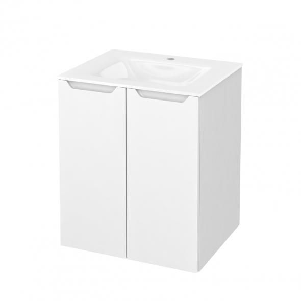 PIMA Blanc - Meuble salle de bains N°691 - Vasque VALA - 2 portes  - L60,5xH71,2xP50,5